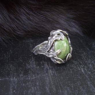 Кольцо Венец, зеленый австралийский опал, хризопал, техника Тиффани