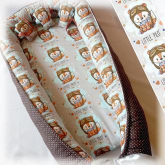 Кокон для новорожденного Лисички-Пилоты Гніздечко для немовлят