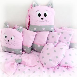 Постель в кроватку Сердечки кошечек ПОСТЕЛЬ в кроватку Сердечки котят