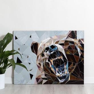 """Полигонная картина """"Медведь"""" мозаика из стекла"""