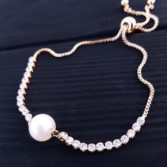 Браслет позолочений з натуральною білою перлиною браслет с жемчугом жемчужный браслет для невесты