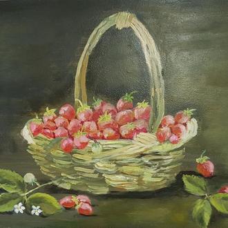 Картина маслом Натюрморт с клубникой