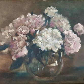 Картина маслом Квіти піони у вазі