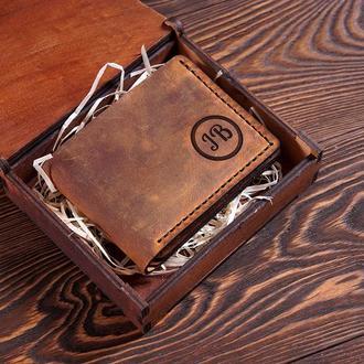 Кошелек ручной работы. Компактное портмоне. Именная гравировка. Винтажная кожа. Подарок мужчине.