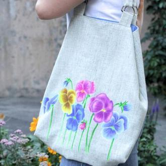 Льняная эко-сумка с принтом