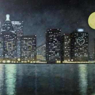 """Картина """"Одиночество в большом городе"""", 50 см * 60 см"""