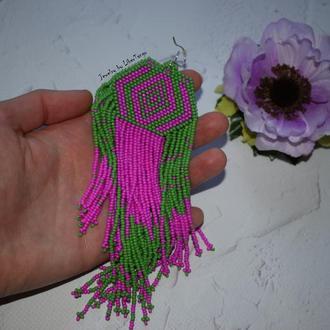 Серьги из бисера, розовые серьги, серьги с бахромой, длинные серьги, этнические серьги, этно серьги