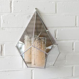 """Флорариум """"Настенная капля"""" с зеркалом террариум для суккулентов"""