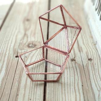 Стеклянная шкатулка для обручальных колец с цепочкой и памятной гравировкой
