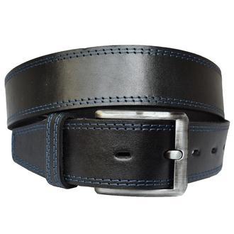 Sergio 4,5см ремень черный со строчками под джинсы натуральная кожа пояс кожанный