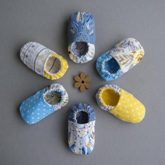 Моксы двусторонние, легкие текстильные пинетки, 100% хлопок