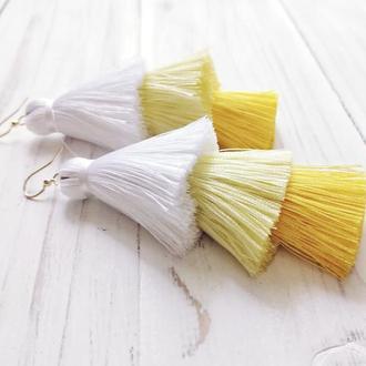 Желтые серьги - кисточки