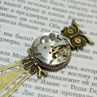 Закладка сова в стиле Стимпанк Steampunk