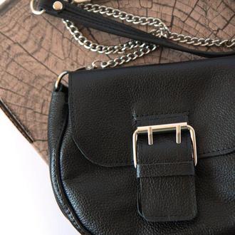 Стильная полукруглая сумка из натуральной кожи