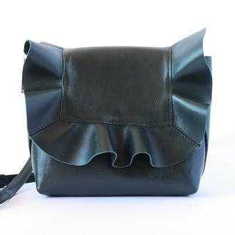 Кожаная сумка - рюкзак из натуральной кожи (зелёная)