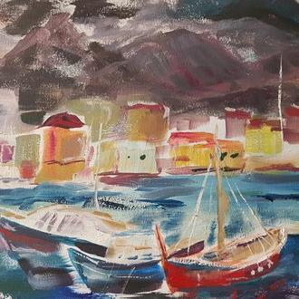 Живопись маслом Морской пейзаж с яхтами