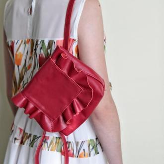 Кожаная сумка - рюкзак из натуральной кожи (красная)