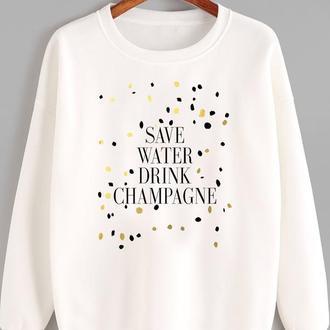 СВИТШОТ БЕЛЫЙ SAVE WATER DRINK CHAMPAGNE KATARINA IVANENKO