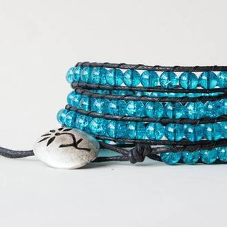Спиральный браслет чан лу chan luu из стеклянных бусин. эффект битого стекла