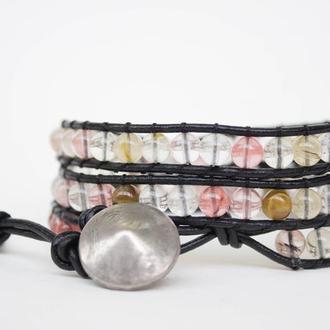 Спиральный браслет чан лу chan luu из натуральных камней. из бусин кварц
