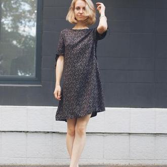 Черное маленькое платье, платье в цветы, принт, трапеция, штапель, хлопок, на завязках, свободное