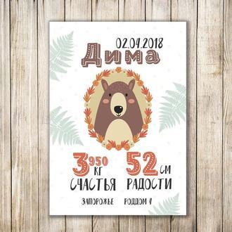 Детская метрика в электронном виде и в рамке подарок плакат постер