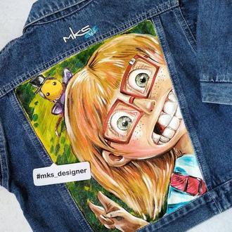 """Детская джинсовая курточка с ручной росписью """"Рыж"""""""