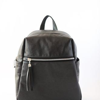 Кожаный рюкзак на каждый день (чёрный)