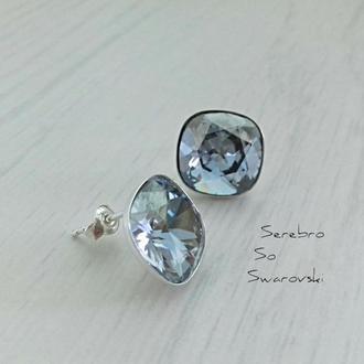 Серебряные пусеты с кристаллами Сваровски