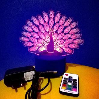 Павлин, ночник светильник лампа, подарок девушке женщине, декор спальня гостиная
