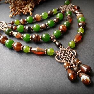 Коричнево-зеленое ожерелье из агата и тонированного кварца