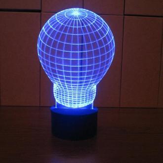 """3d акриловый светильник-ночник """"Лампочка"""" необычный подарок"""