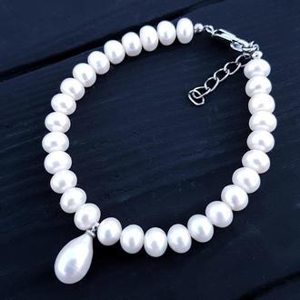 Браслет святковий чи весільний з натуральних перлів з рідкісною перлиною крапля браслет из жемчуга