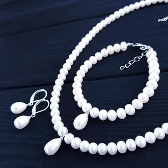 Комплект з натуральних перлів весільний чи святковий комплект украшений свадебный из жемчуга