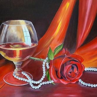 "Картина маслом на холсте ""Бокал и роза"" Размер 50х80"