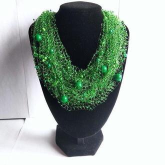 Изумрудное воздушное колье Зеленое ожерелье купить