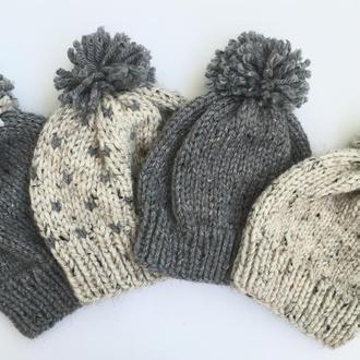 Стильные шапки с мериносовой шерстью разные цвета