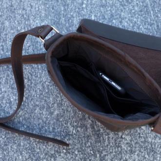 Мужская кожаная сумка через плечо, канвас+кожа