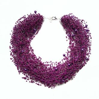 Воздушное колье фиолетовое, колье пурпурного цвета купить колье Украина