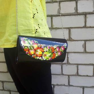 Сумочка клатч з розписом в українському стилі