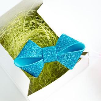 Детская повязка бантик для девочки голубая