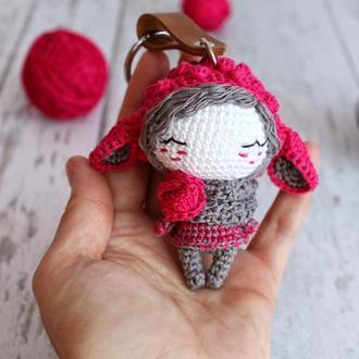 Вязаный брелок Девочка Овечка для ключей, машины, на сумку или рюкзак