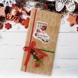 "Открытка с вышивкой "" Merry Christmas"""