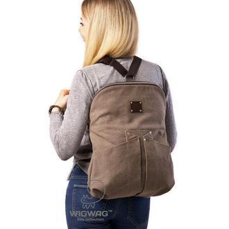 Сумка-рюкзак, сумка-трансформер из канваса и натуральной кожи