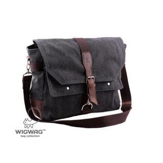 Мужская сумка из канваса и натуральной кожи через плечо