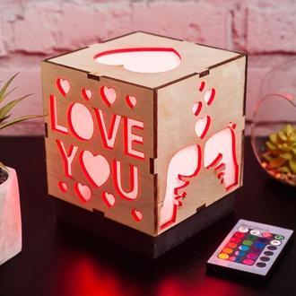 """Нічник """"Люблю тебе"""" з RGB лампою"""