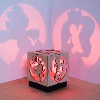 """Деревяна нічна лампа-проектор """"Маріо"""""""