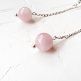 Сережки срібні з рожевим кварцом