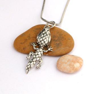 Маленький кулон Ящерица, кулон серебро 925, подвеска без камней