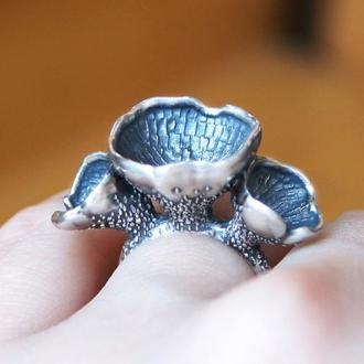 Серебряное кольцо Лесные цветы, кольцо серебро925, оригинальное кольцо
